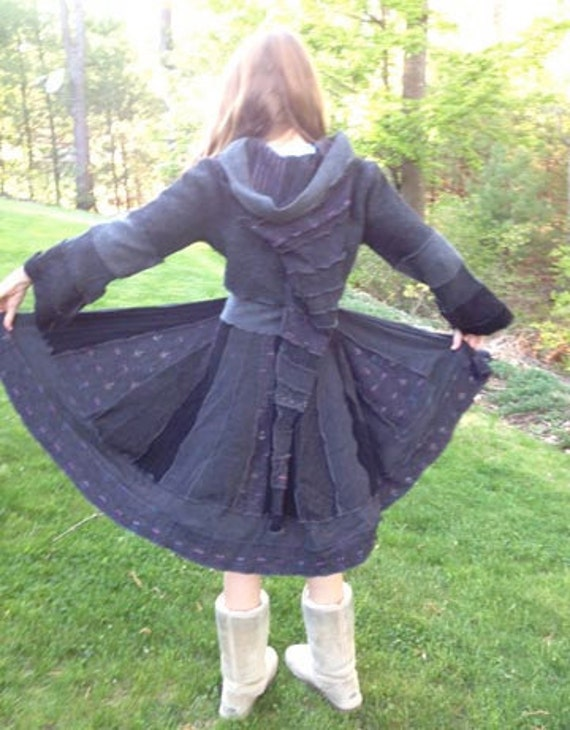 Reserved for Dawn--Upcycled Sweater Coat in Black, Charcoal and Gray 100% Felted Wool with Elf Hood