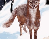 Fox In The Snow - original illustration digital art print