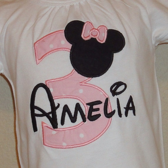 Minnie Mouse Birthday Number Personalized Shirt or Bodysuit