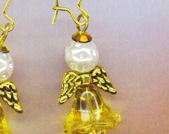 Angel Earrings . Golden Wings Yellow  Flower . Communion Angels . Guardian Angel  . Large Kidney wires - Angels by enchantedbeas on Etsy