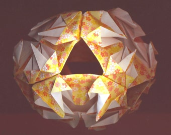 Origami Light Ornament . Celebration Lantern . Orange Light . Chinese New Year. Chinese Moon Festival - Paper Lamp by enchantedbeads on Etsy