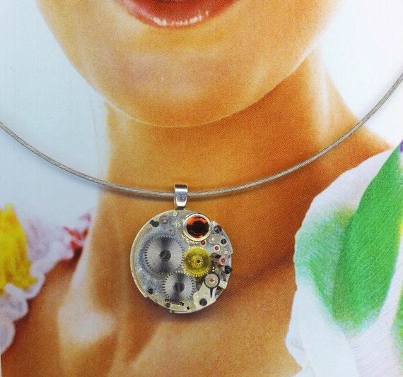 Steampunk Pendant . Jewel Watch Movement . Caramel Rhinestone . STEAMPUNK Victorian - Time Goes On by enchantedbeas on Etsy