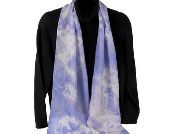 Hand Dyed Silk Scarf: Lavender Clouds