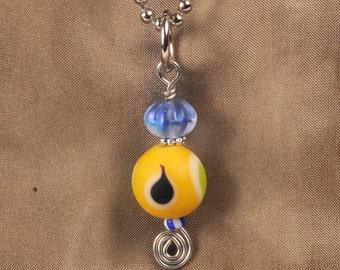 Ball Chain Pendant - Czech Glass Teardrops