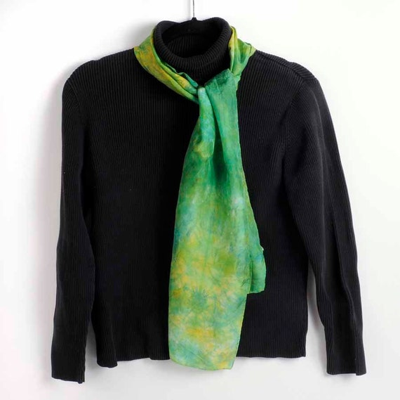 Silk Scarf, Hand Dyed: Green with Yellow Starbursts