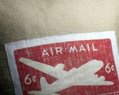 Airmail Stamp 16 inch Decorative  Linen Throw Pillow Cover Natural Linen