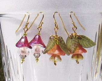 Pretty Pink Flowers Glass Earrngs 2 Pairs