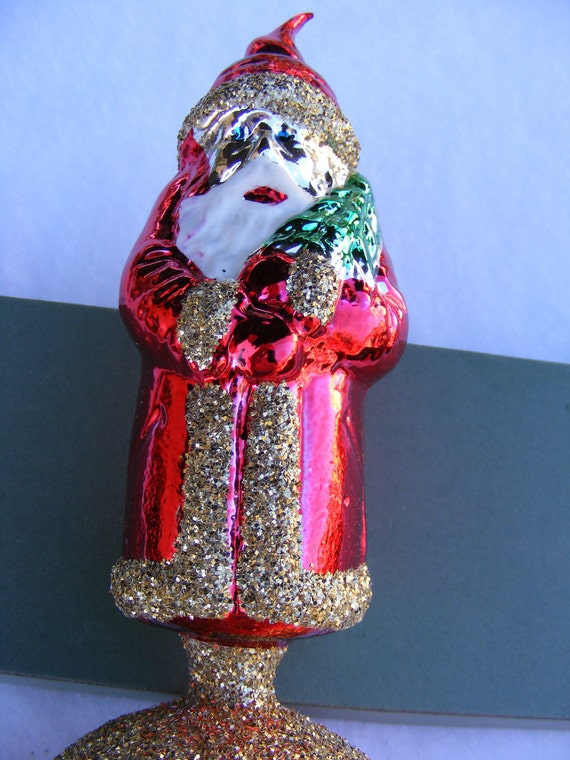 Vintage Glass Santa Claus Christmas Tree Topper