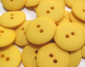 Plain Yellow Buttons 20mm 24 pieces