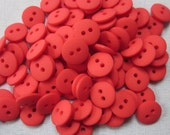 100 Mini Plain Bright Red Buttons