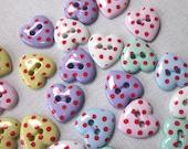 30 Pastel Spotty Heart Buttons