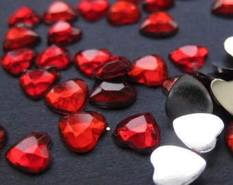 Tiny Red Heart Crystals