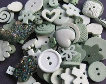 Aqua Sage Green Craft Button Embellishment Mix