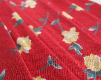 2.5 metres Handmade Red Floral Retro Print Bias Binding