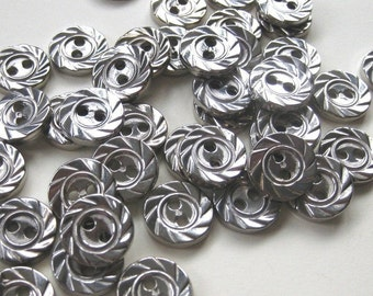 100 Tiny Textured Silver Buttons