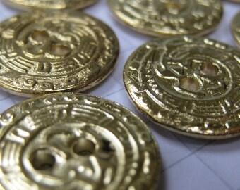 10 Small Brass Hieroglyph Buttons