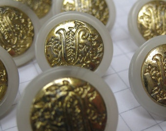 10 Small Gold Metal and White Plastic Shank Buttons