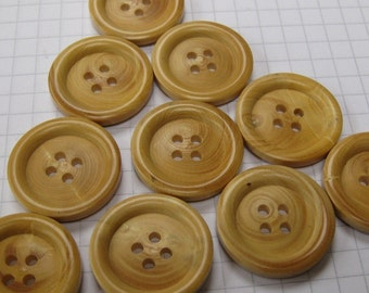 10 Large Faux Wood Buttons