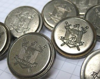 10 Large Pewter Hepton Buttons