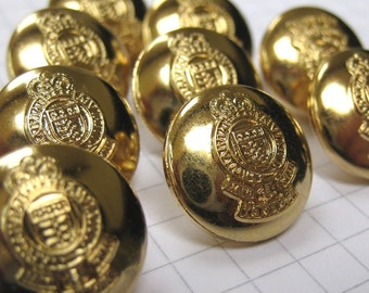 10 Shiny Gold Shank Buttons