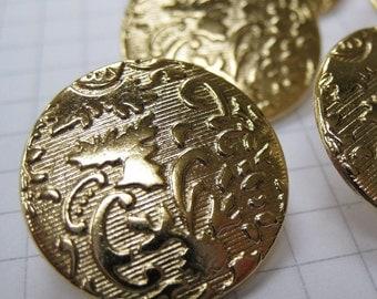 10 Medium Gold Brocade Buttons