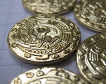 10 Medium Brass Hieroglyph Buttons