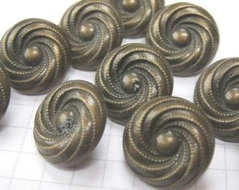 10 Medium Copper Swirl Buttons