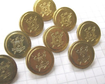 10 Small Gold Hepton Buttons