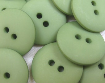 Plain Leaf Green Buttons 20mm 24 pieces