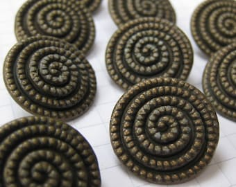 10 Medium Dotted Spiral Copper Buttons