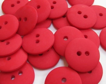 Plain Red Buttons 18mm 24 pieces