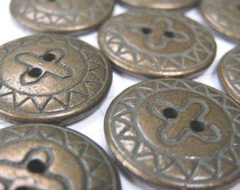 10 Flat Copper Buttons