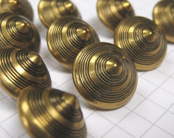 10 Small Brass Cone Shank Buttons