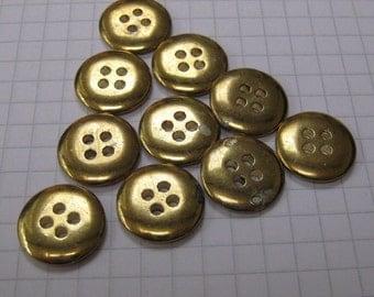 10 Small Flat Brass Buttons