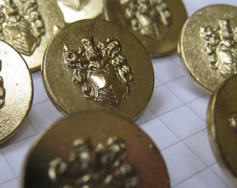 10 Small Gold Metal Coat of Arms Shank Buttons