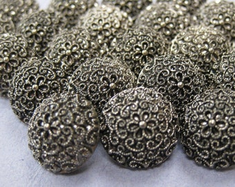 25 Small Antiqued Silver Filigree Shank Buttons
