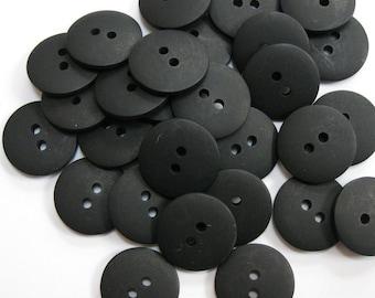 Plain Black Buttons 18mm 24 pieces