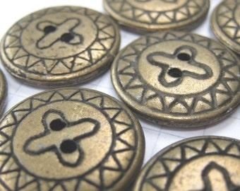 10 Flat Bronze Buttons