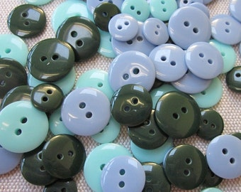 Mixed Size Blue Green Buttons