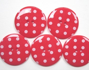 5 Large Polkadot Red Buttons