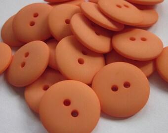 Plain Orange Buttons 20mm 24 pieces