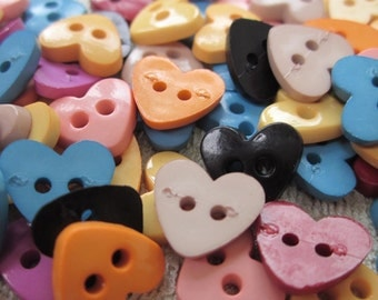 50 Small Bright Heart Buttons