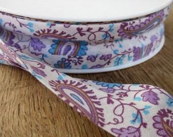 Purple Paisley Flower Patterned Bias Binding