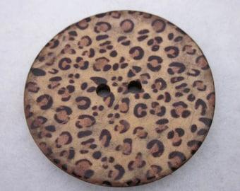 Large Leopard Print Coconut Button