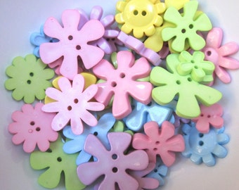 Mixed Funky Flower Buttons