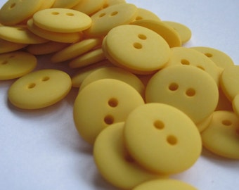 48 Small Plain Bright Yellow Buttons