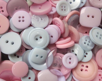 50g Mixed Pastel Blue Pink Lilac Buttons