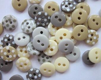 Mini Linen Mix Polkadot Buttons