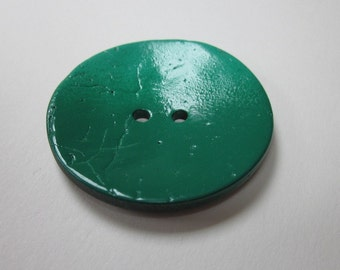 Large Green Painted Coconut Button