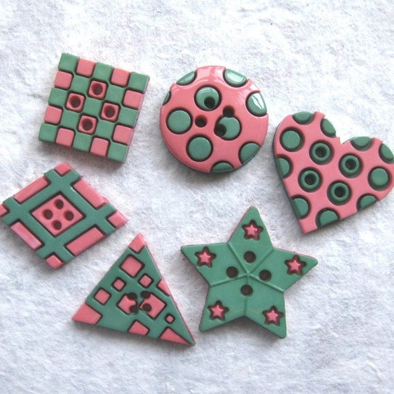 6 Pink and Green Geometric Buttons